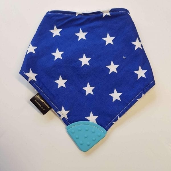 blue stars teething bib