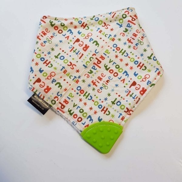 scoot words teething bib
