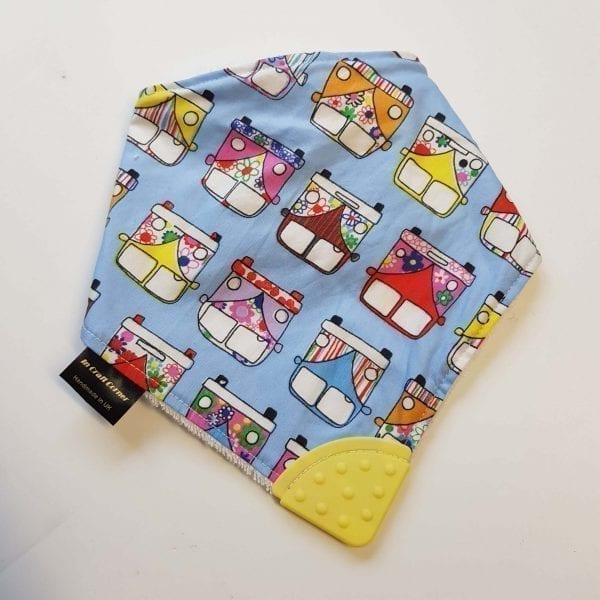 blue campervans teething bib