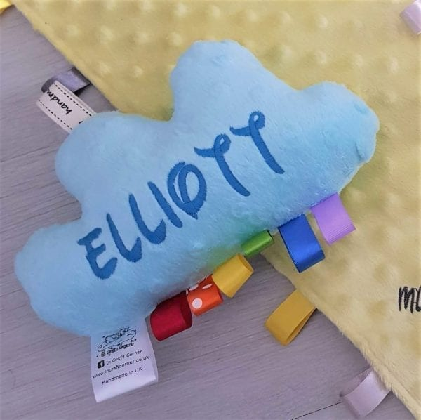 Pale Blue Cuddle Cloud Baby Tag Toy