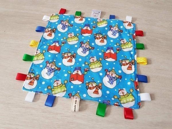 snowmen taggie blanket