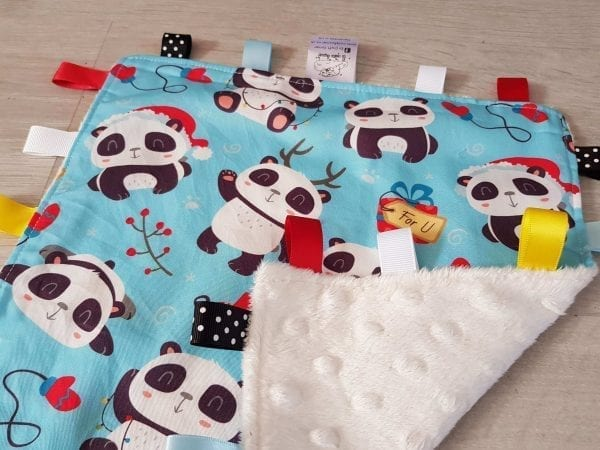 Pandas christmas taggie blanket
