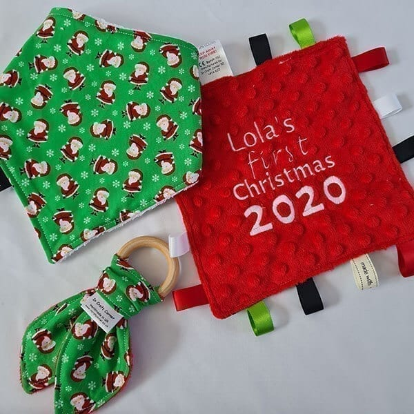 mini santa baby bundle driible bib, teething ring, taggie blanket