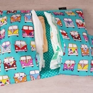 Mint Campervan Nappy Wallet