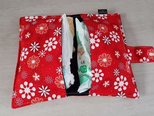 Red Flowers Nappy Wallet
