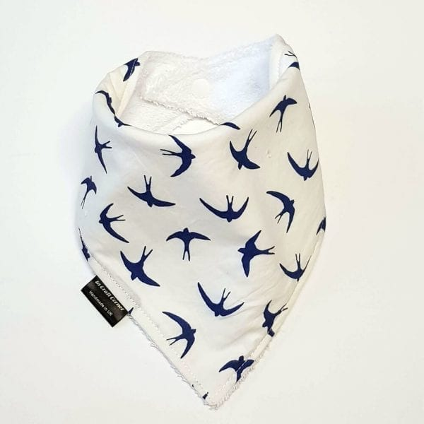 Birds On White Dribble Bib