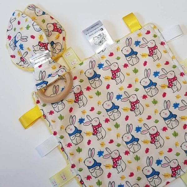 Bright bunny tag blanket