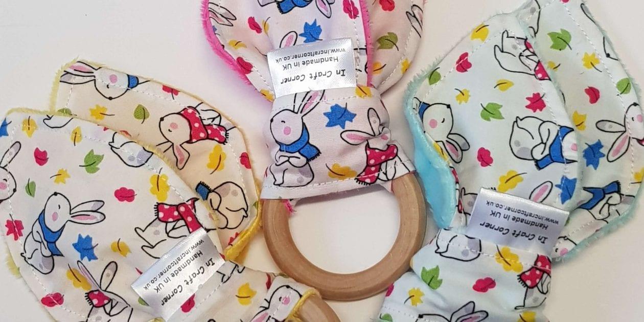 Bright Bunny Rabbits Teething Ring