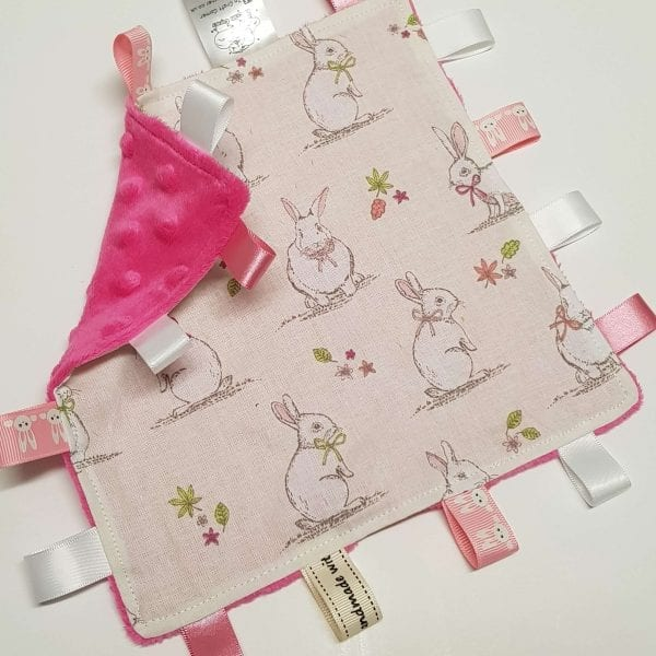 Ivory Bunny Rabbits Taggie Blanket