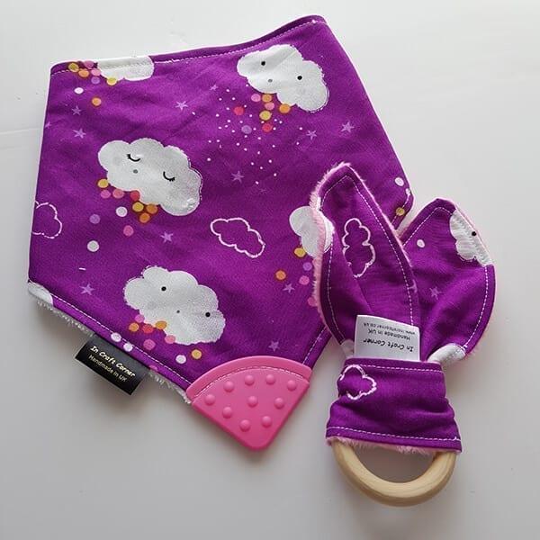 purple clouds teething bib & teething ring