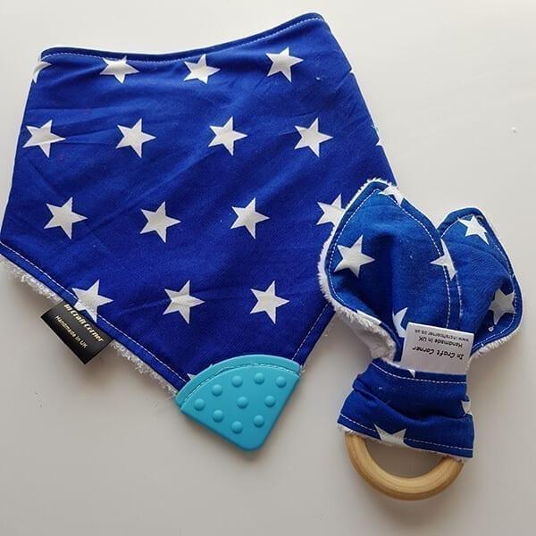 Blue stars teething bib & teething ring