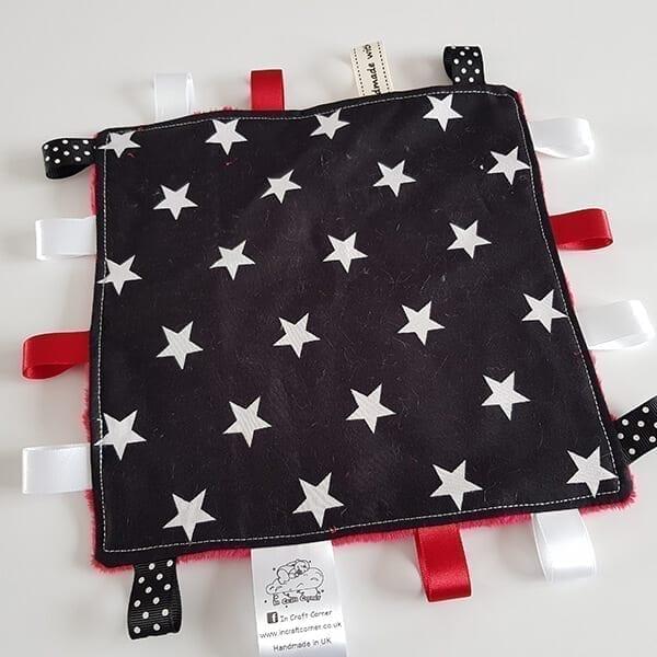 Black Stars Taggie Blanket Front