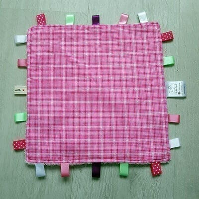Pink GIngham Large taggie blanket