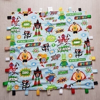Superhero words taggie blanket