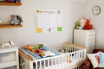 Baby's first calendar on the wall