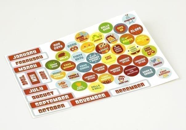 Babys first calendar stickers