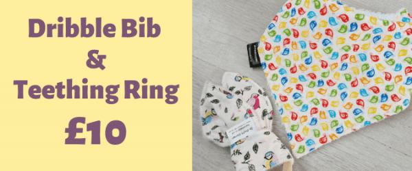dribble bib and teething ring