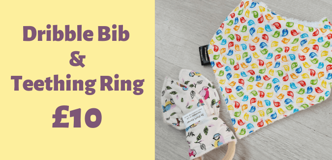 dribble bib and teething ring