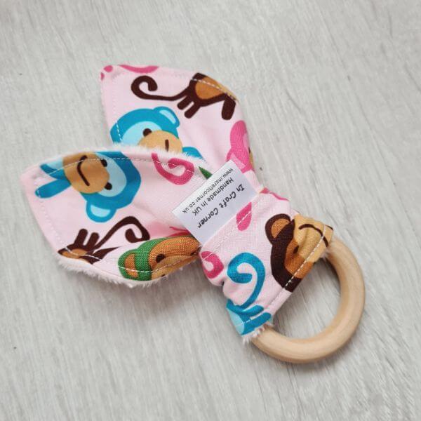 pink monkeys teething ring