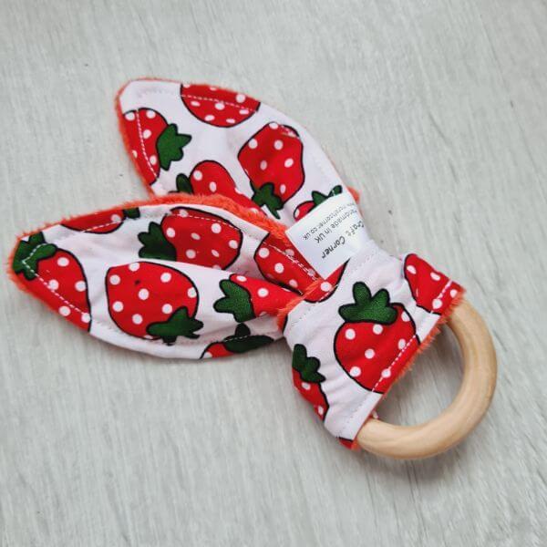 strawberries teething ring