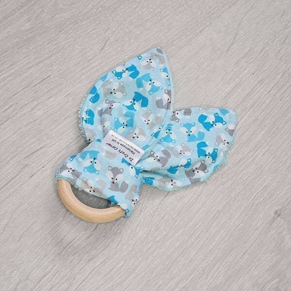 blue fox teething ring