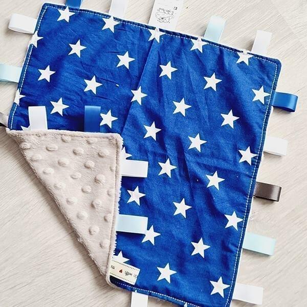 blue stars taggie blanket
