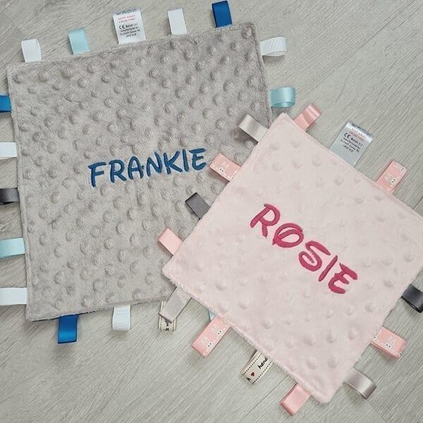 personalised taggie blanket