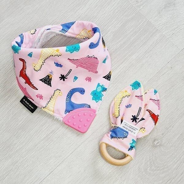 Pink DInos teething bundle