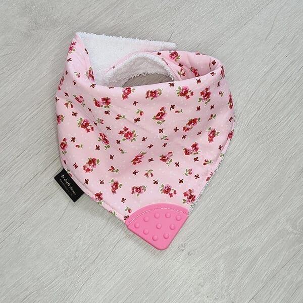 Pink Floral teething bib