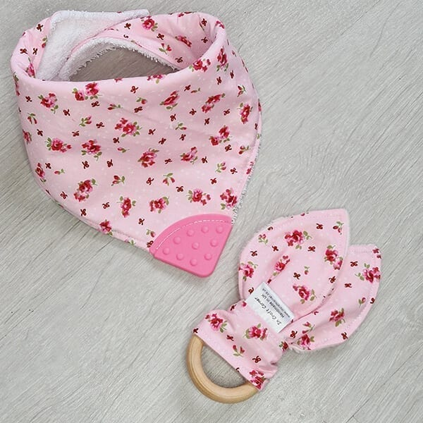 pink floral teething bundle