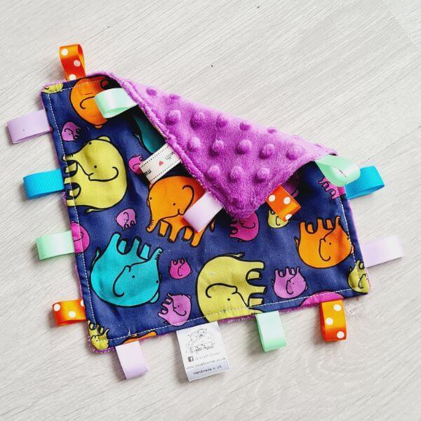 colourful elephants taggie blanket