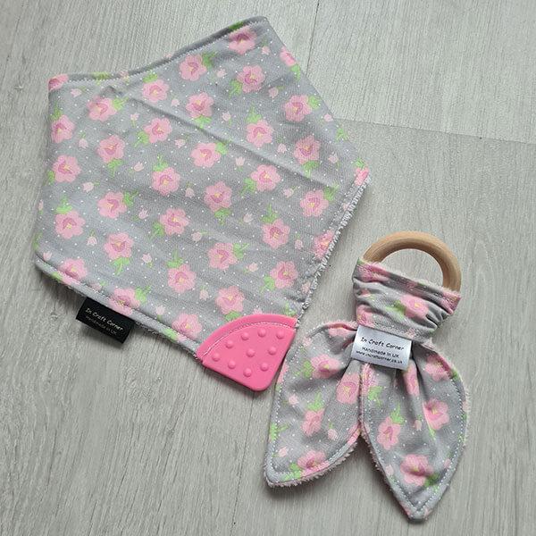 Pink Flowers Teething Bundle