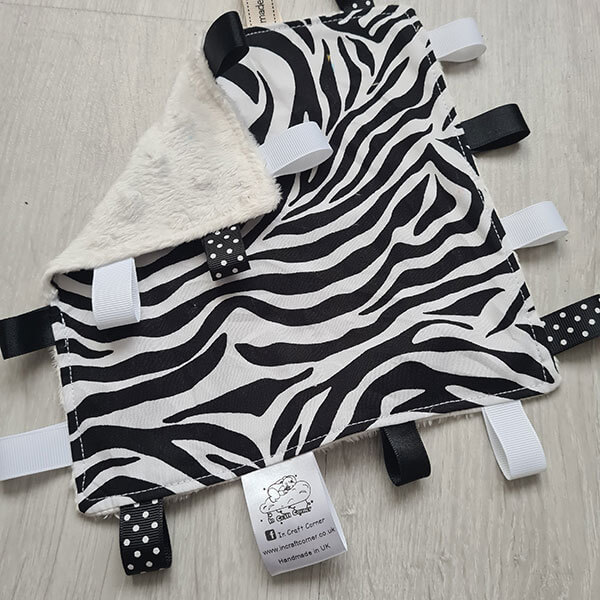 Zebra Print Taggie Blanket 2