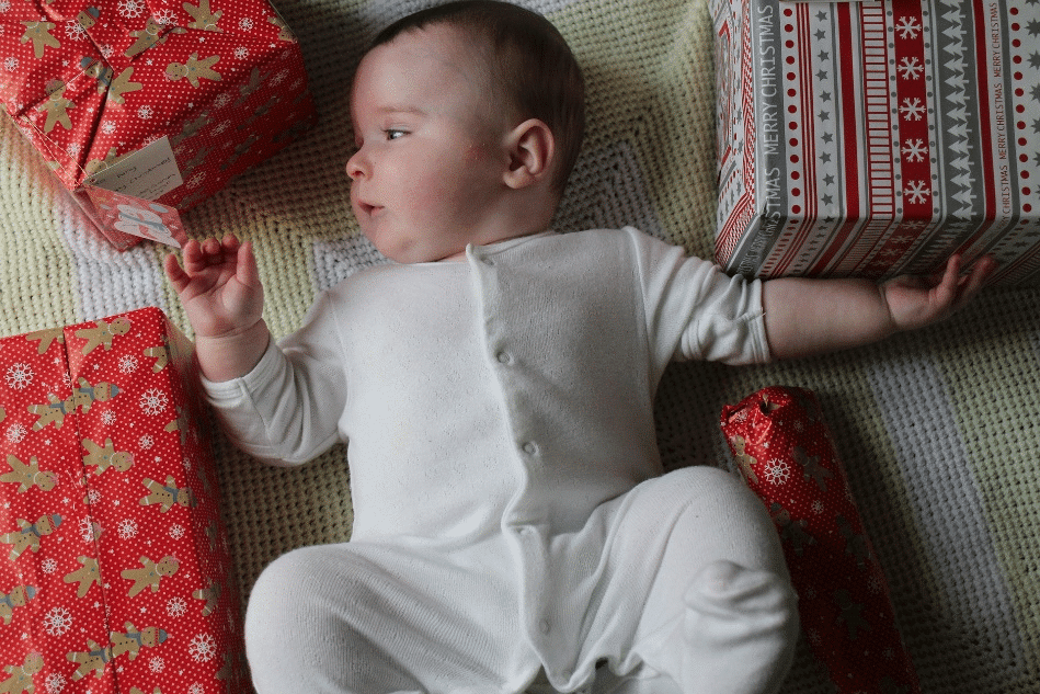 Baby with presents