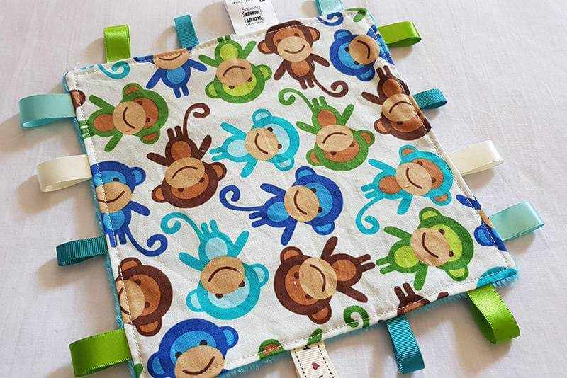 Blue Monkey Taggie Blanket