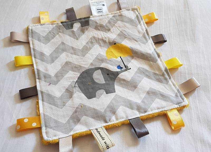 Yellow Elephant Taggie Blanket