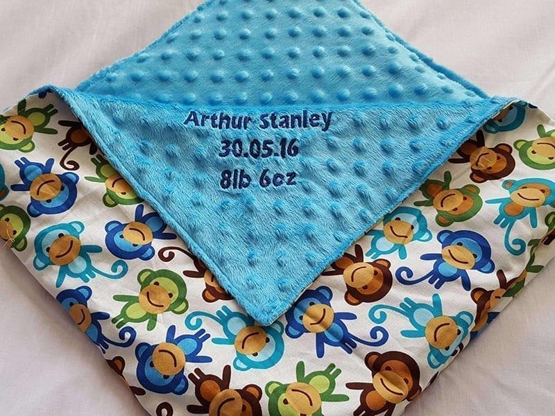 Blue Monkey baby blanket